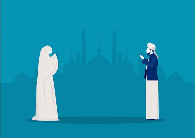 Люди молятся богу рамадан карим иллюстратор.