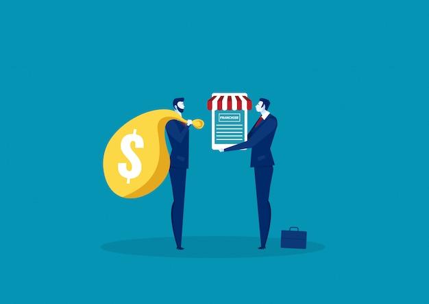 Бизнесмен, предлагая франчайзинг с контрактным документом для клиента.