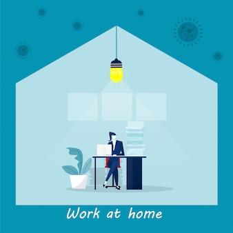 Предприниматель, работающий дома, защищает от коронавируса