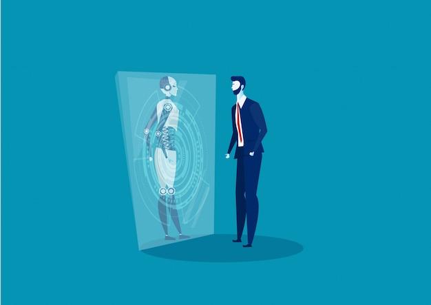 Взгляд бизнесмена на стеклянной концепции будущего технологии нововведения робота.