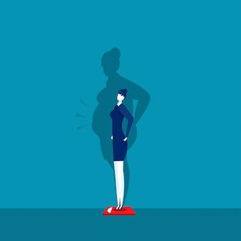 Худенькая девушка весом на весах с жирной тенью.
