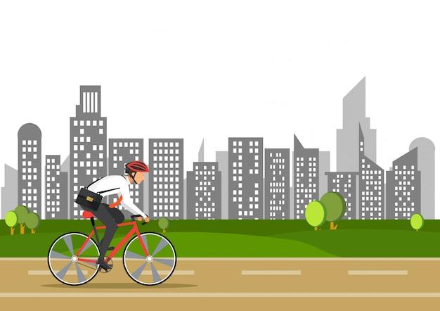自転車のビジネスマンは、市内で仕事に行きます。
