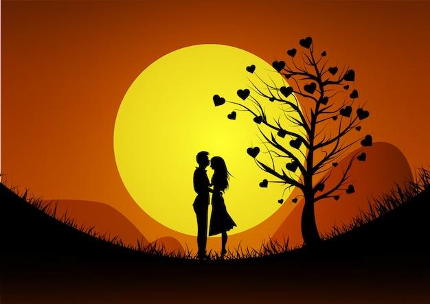幸せなバレンタインデーのイラスト。夕日を背景に山でカップルを愛するのロマンチックなシルエット。