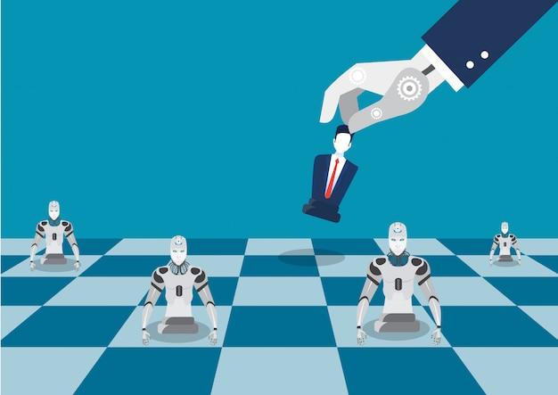 ロボットハンドプレイチェスフィギュア。ロボットチェス戦略の代わりにフラットのイラストビジネスマンのコンセプト
