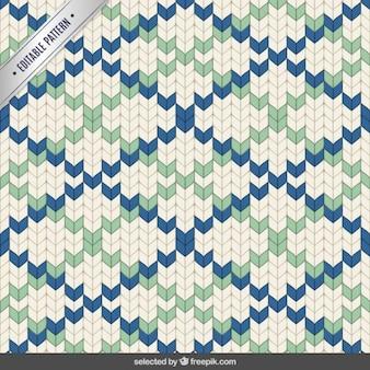 ステッチ青と緑の多角形のパターン