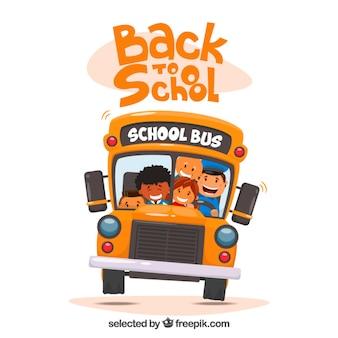 子供のイラストとスクールバス