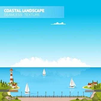 Прибрежный ландшафт иллюстрация