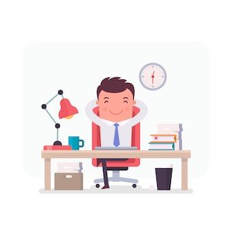 オフィスでリラックスしたビジネスマンのキャラクター