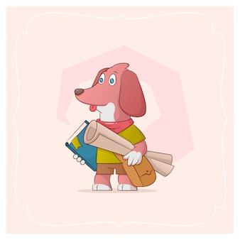 手描きの絵と本が並んでいるエウディイトの犬。シリーズからのベクトル図おかしいペット