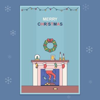 サンタクロースが暖炉で立ち往生しているはがき。クリスマスをテーマにフラットスタイルのイラスト