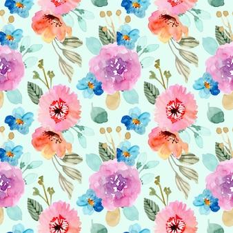 カラフルな花の水彩画のシームレスパターン