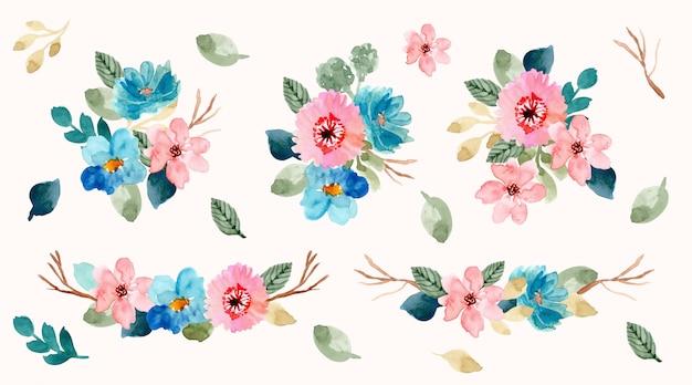 ブルーピンクフラワーアレンジメント水彩画コレクション