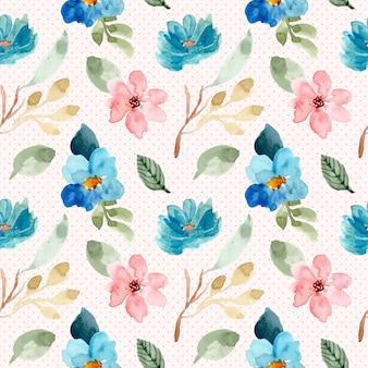 ブルーピンクの花の水彩画とドットのシームレスパターン