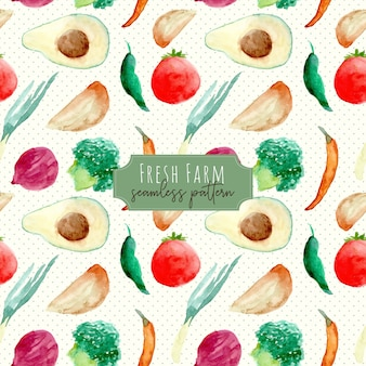 新鮮な農場の果物と野菜の水彩画のシームレスパターン