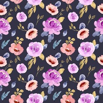 豪華な花の水彩画のシームレスパターン