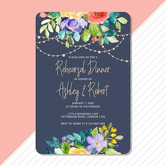 花と文字列の明るい背景を持つリハーサルディナー招待状