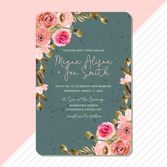 ピンクの緑の花の水彩画フレームとの結婚式の招待状