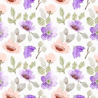 赤面紫の花の水彩画のシームレスパターン