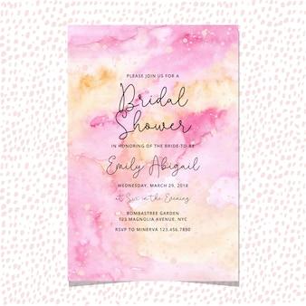 黄色ピンクの水彩画とブライダルシャワーの招待状