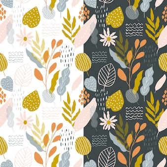 かわいいレトロ花柄抽象的なシームレスパターン