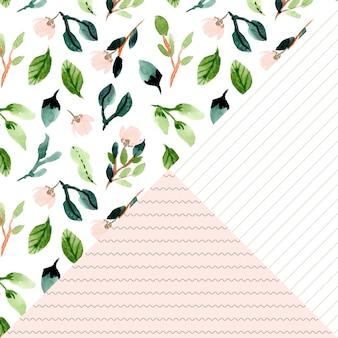 花の水彩画と線のシームレスパターン