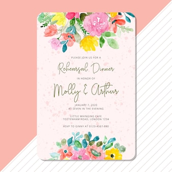 花の水彩画フレームとリハーサルディナー招待状