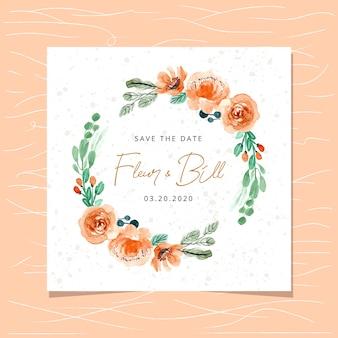 水彩のオレンジ色のフローラルリースと日付カードを保存