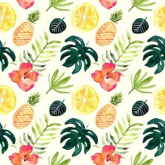 花とフルーツの熱帯夏水彩画のシームレスパターン