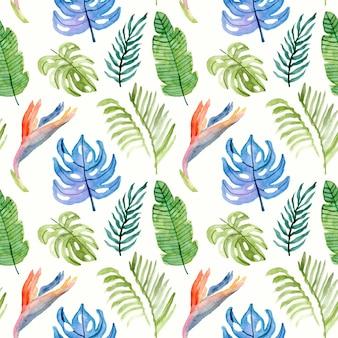 Летний рай цветочные акварели бесшовный фон