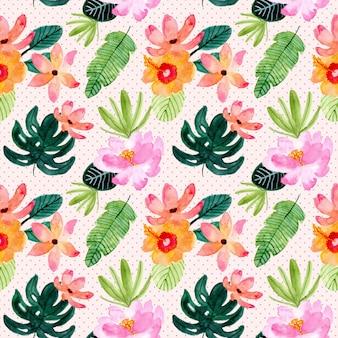 熱帯の夏の花の水彩画のシームレスパターン