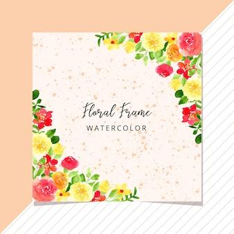熱帯の花のフレームの水彩画と多目的カード
