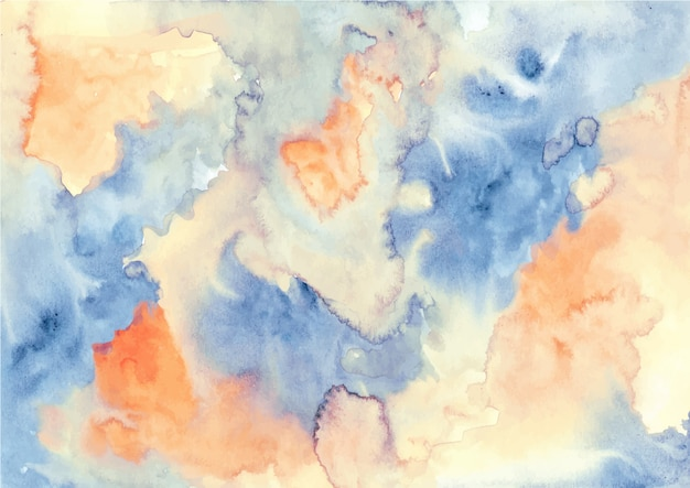 オレンジブルー抽象的な水彩画テクスチャ背景