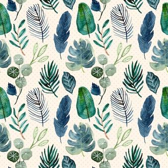 熱帯の緑の葉の水彩画のシームレスパターン