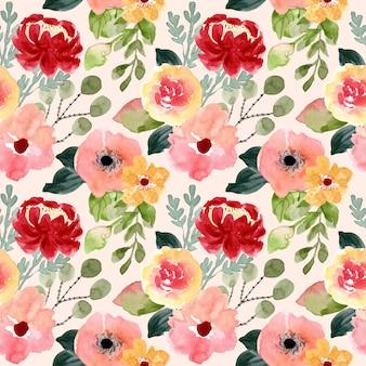 花の花の水彩画のシームレスパターン