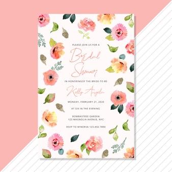 水彩画の花とブライダルシャワーの招待状