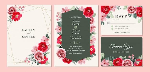 結婚式の招待カードテンプレート美しい花の水彩画と設定