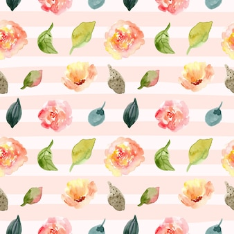 花の水彩画のシームレスなパターンと線の背景。