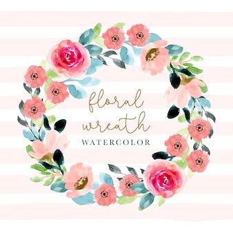 ピンクの花の花の水彩画の花輪。