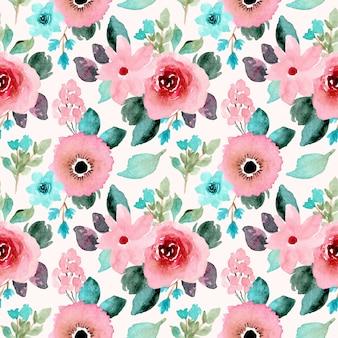 ピンクミントの花の水彩画のシームレスパターン。