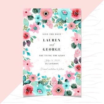 ピンクのミントの花の水彩画フレームと日付カードを保存します。