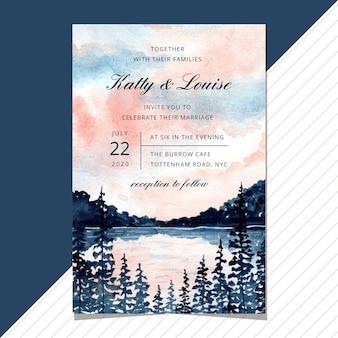 湖の風景の水彩画との結婚式の招待状。