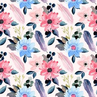 美しい花と羽の水彩画のシームレスパターン