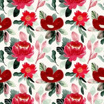 美しい赤い花の水彩画のシームレスパターン