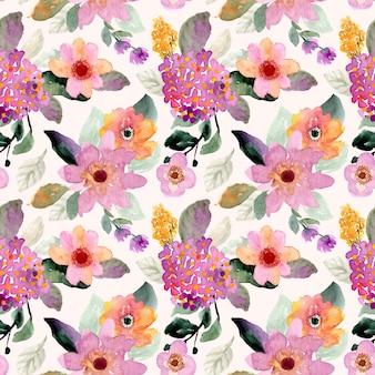 花の水彩画のシームレスパターン