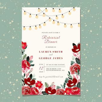 文字列の光と赤の花の水彩画とリハーサルディナー招待状