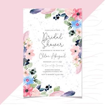花と羽の水彩画ボーダーとブライダルシャワーの招待状