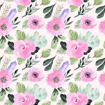 花とクリスタルの水彩画のシームレスパターン