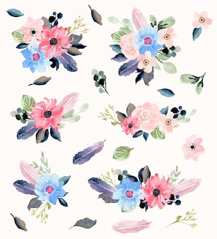 花と羽の水彩画ブーケコレクション