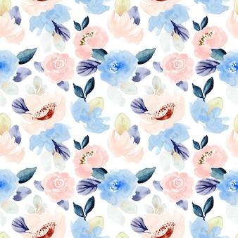 パステルピンクブルー花柄水彩画シームレスパターン