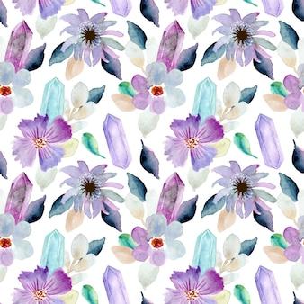 美しい花とクリスタルの水彩シームレスパターン